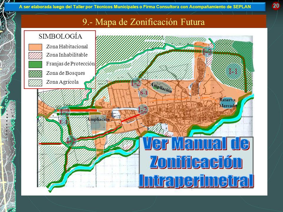 9.- Mapa de Zonificación Futura A El Salvador Qda. Seca 20 SIMBOLOGÍA Zona Habitacional Franjas de Protección Zona Inhabilitable Zona de Bosques Zona