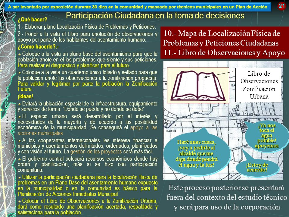 Participación Ciudadana en la toma de decisiones ¿Qué hacer? 1.- Elaborar plano Localización Física de Problemas y Peticiones. 2.- Poner a la vista el