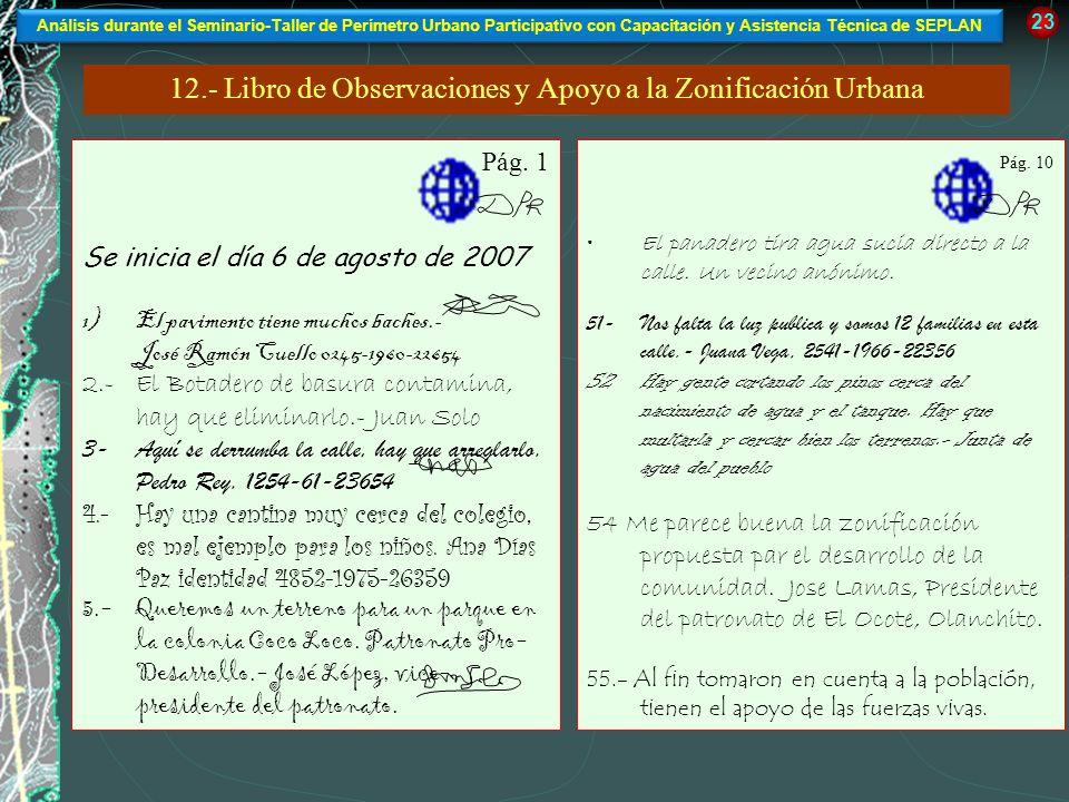 23 12.- Libro de Observaciones y Apoyo a la Zonificación Urbana Pág. 1 Se inicia el día 6 de agosto de 2007 1)El pavimento tiene muchos baches.- José