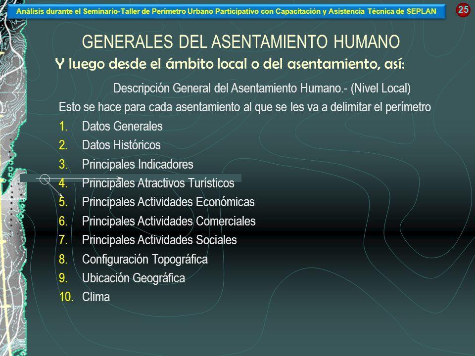 Y luego desde el ámbito local o del asentamiento, así: Descripción General del Asentamiento Humano.- (Nivel Local) Esto se hace para cada asentamiento