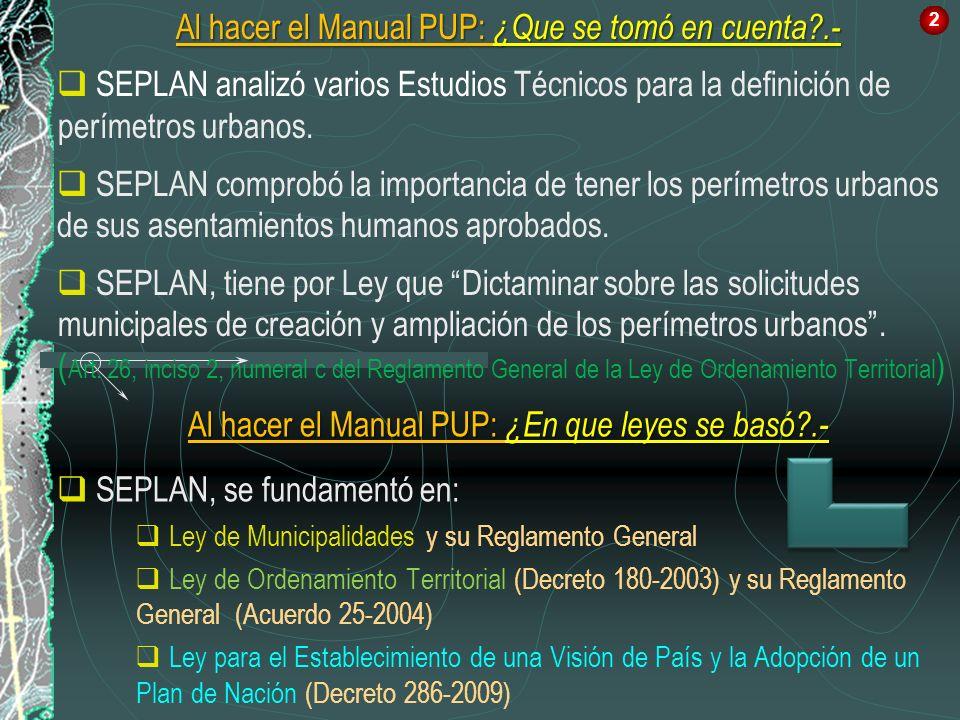 Al hacer el Manual PUP: ¿Que se tomó en cuenta?.- SEPLAN analizó varios Estudios Técnicos para la definición de perímetros urbanos. SEPLAN comprobó la