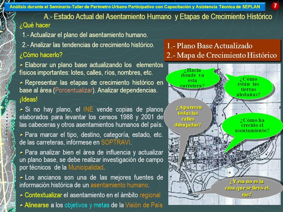 A.- Estado Actual del Asentamiento Humano y Etapas de Crecimiento Histórico ¿Qué hacer 1.- Actualizar el plano del asentamiento humano. 2.- Analizar l