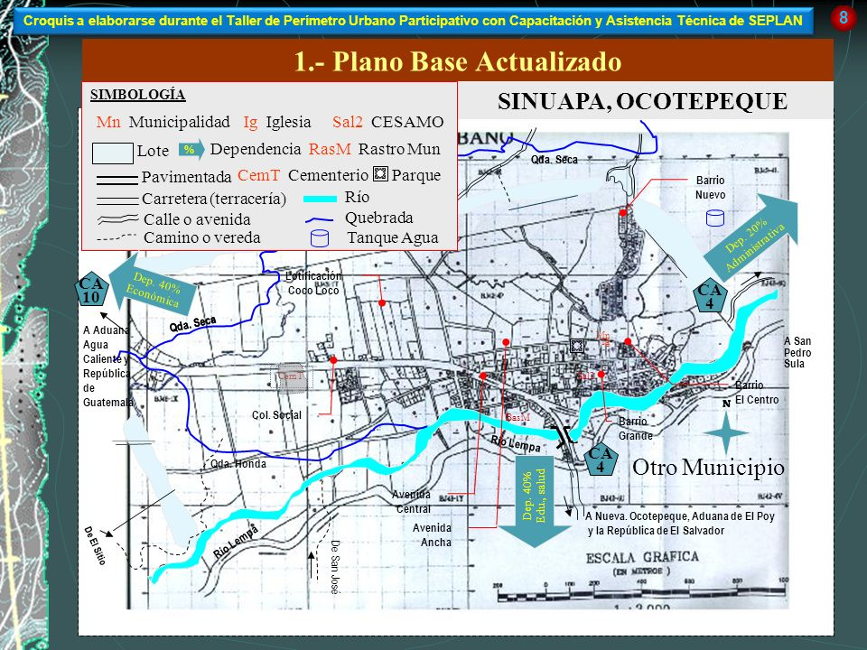1.- Plano Base Actualizado SINUAPA, OCOTEPEQUE Río Lempa A Nueva. Ocotepeque, Aduana de El Poy y la República de El Salvador A San Pedro Sula A Aduana