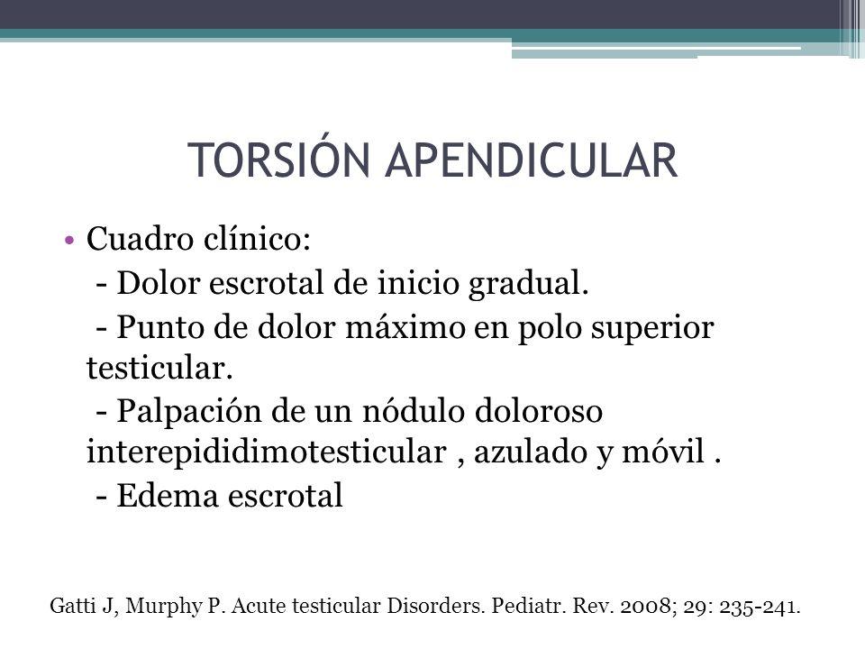 Cuadro clínico: - Dolor escrotal de inicio gradual. - Punto de dolor máximo en polo superior testicular. - Palpación de un nódulo doloroso interepidid