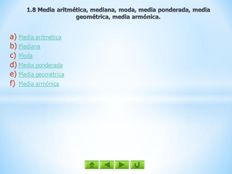 a) Media aritmética Media aritmética b) Mediana Mediana c) Moda Moda d) Media ponderada Media ponderada e) Media geométrica Media geométrica f) Media