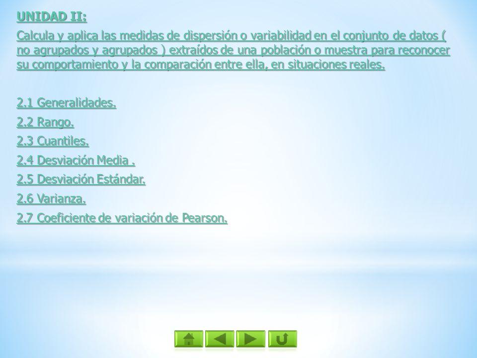 UNIDAD II: UNIDAD II: Calcula y aplica las medidas de dispersión o variabilidad en el conjunto de datos ( no agrupados y agrupados ) extraídos de una