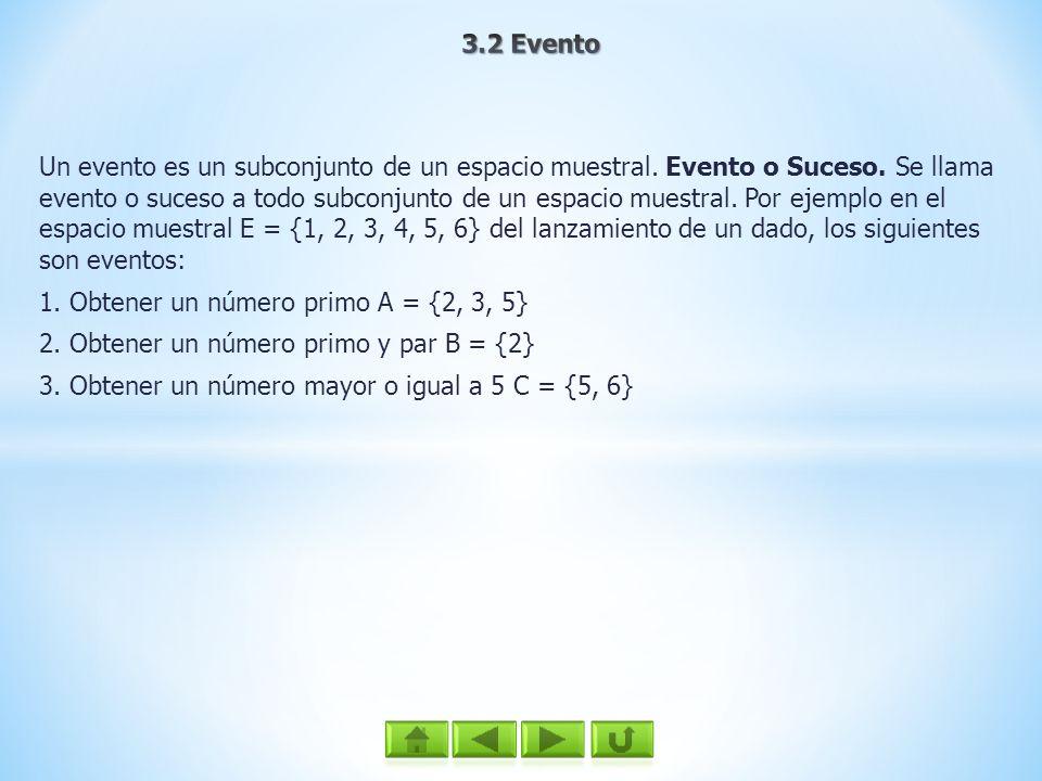 Un evento es un subconjunto de un espacio muestral. Evento o Suceso. Se llama evento o suceso a todo subconjunto de un espacio muestral. Por ejemplo e