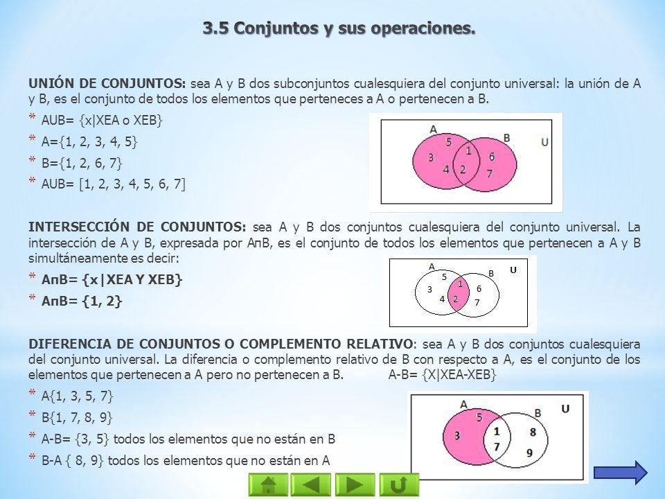 UNIÓN DE CONJUNTOS: sea A y B dos subconjuntos cualesquiera del conjunto universal: la unión de A y B, es el conjunto de todos los elementos que perte
