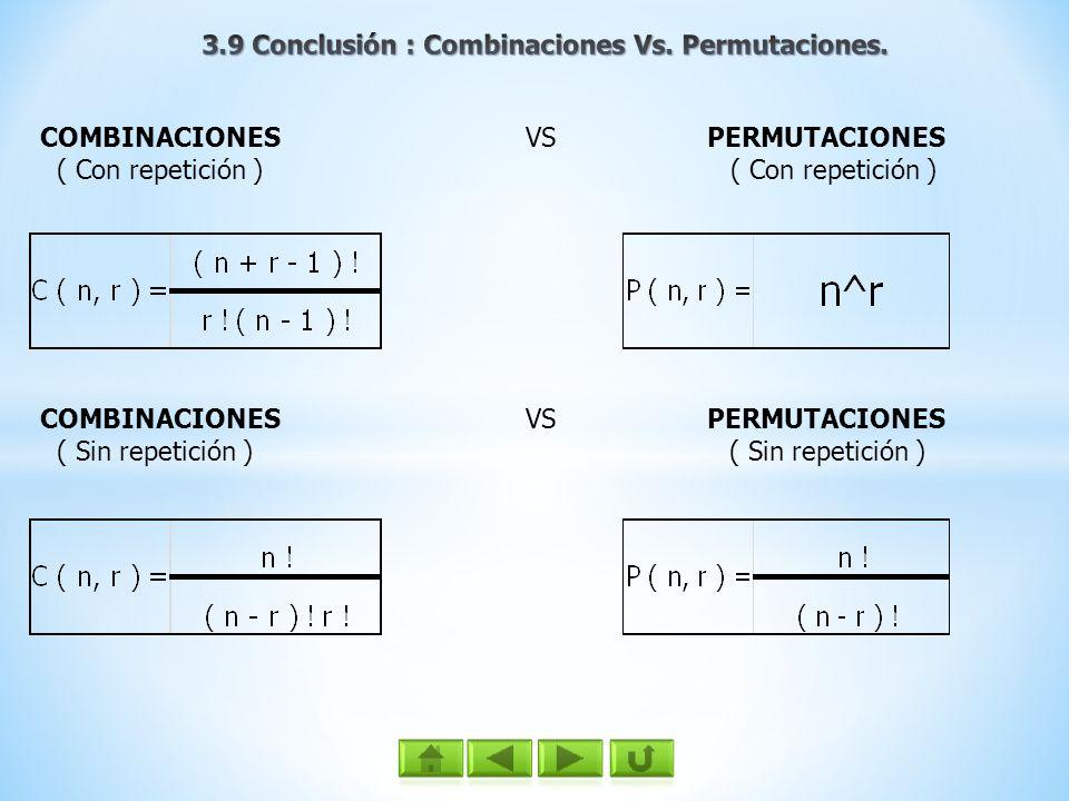 COMBINACIONES VS PERMUTACIONES ( Con repetición ) ( Con repetición ) COMBINACIONES VS PERMUTACIONES ( Sin repetición ) ( Sin repetición )