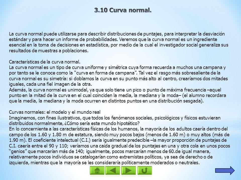 La curva normal puede utilizarse para describir distribuciones de puntajes, para interpretar la desviación estándar y para hacer un informe de probabi