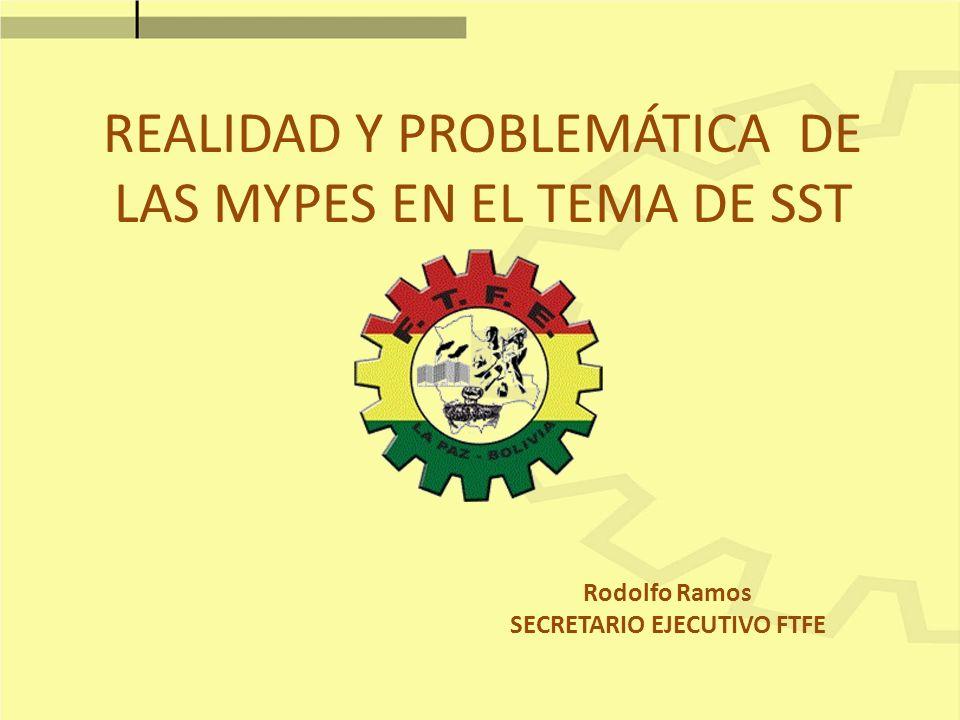 REALIDAD Y PROBLEMÁTICA DE LAS MYPES EN EL TEMA DE SST Rodolfo Ramos SECRETARIO EJECUTIVO FTFE