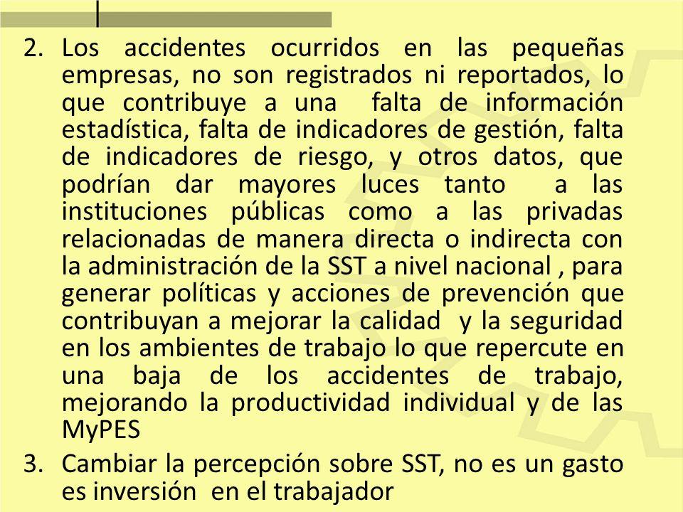 2.Los accidentes ocurridos en las pequeñas empresas, no son registrados ni reportados, lo que contribuye a una falta de información estadística, falta