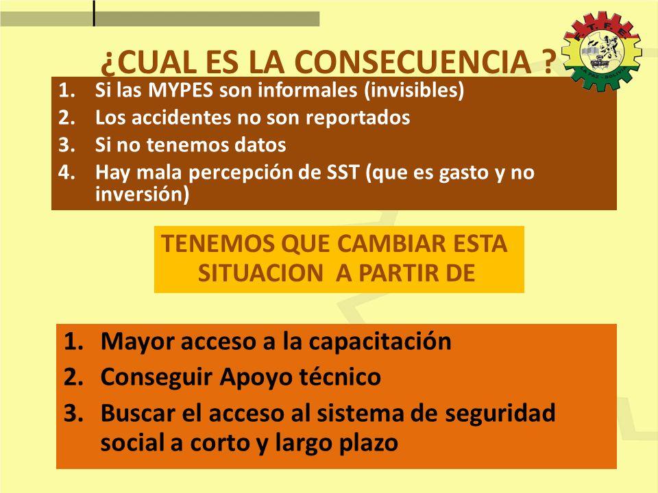 ¿CUAL ES LA CONSECUENCIA ? 1.Si las MYPES son informales (invisibles) 2.Los accidentes no son reportados 3.Si no tenemos datos 4.Hay mala percepción d