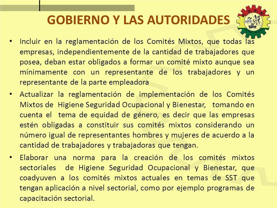 GOBIERNO Y LAS AUTORIDADES Incluir en la reglamentación de los Comités Mixtos, que todas las empresas, independientemente de la cantidad de trabajador