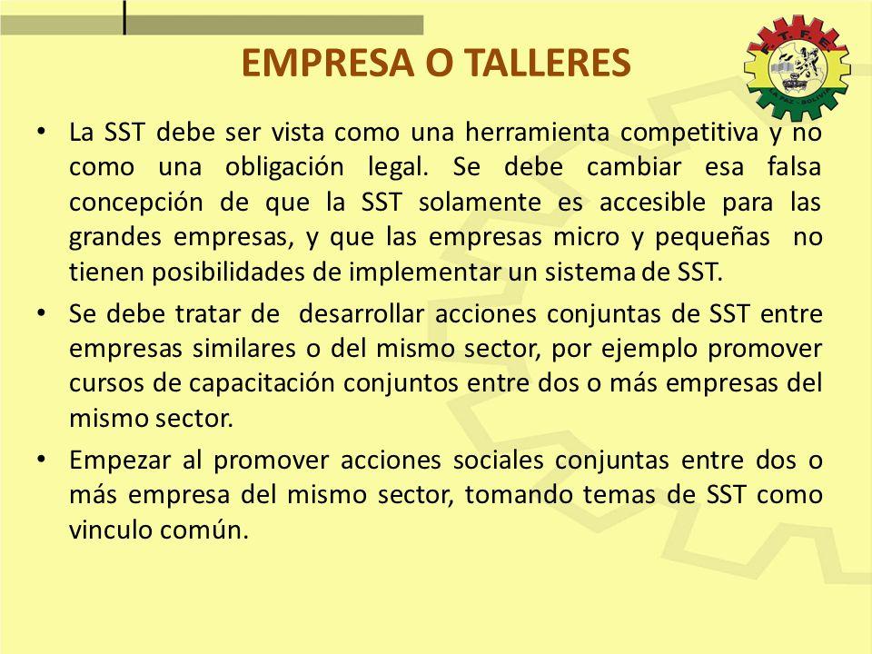 EMPRESA O TALLERES La SST debe ser vista como una herramienta competitiva y no como una obligación legal. Se debe cambiar esa falsa concepción de que