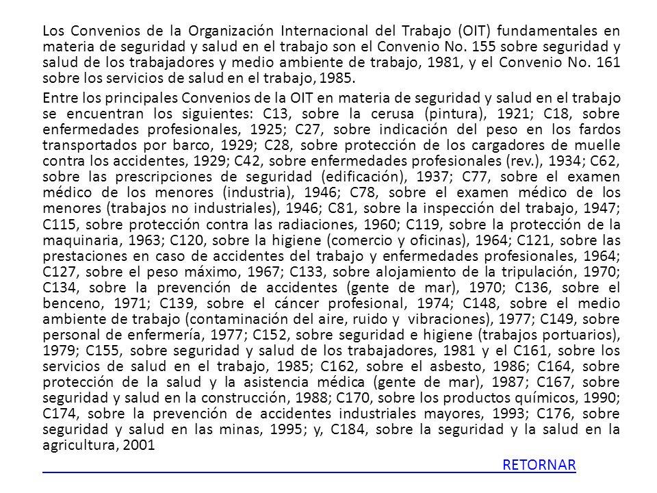 Los Convenios de la Organización Internacional del Trabajo (OIT) fundamentales en materia de seguridad y salud en el trabajo son el Convenio No. 155 s