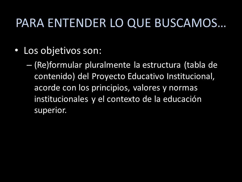 PARA ENTENDER LO QUE BUSCAMOS… Los objetivos son: – (Re)formular pluralmente la estructura (tabla de contenido) del Proyecto Educativo Institucional,