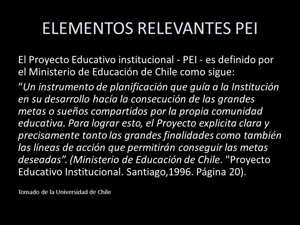ELEMENTOS RELEVANTES PEI El Proyecto Educativo institucional - PEI - es definido por el Ministerio de Educación de Chile como sigue: Un instrumento de