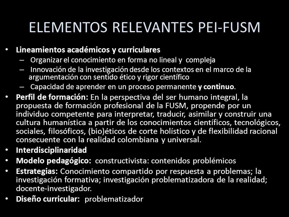 ELEMENTOS RELEVANTES PEI-FUSM Lineamientos académicos y curriculares – Organizar el conocimiento en forma no lineal y compleja – Innovación de la inve
