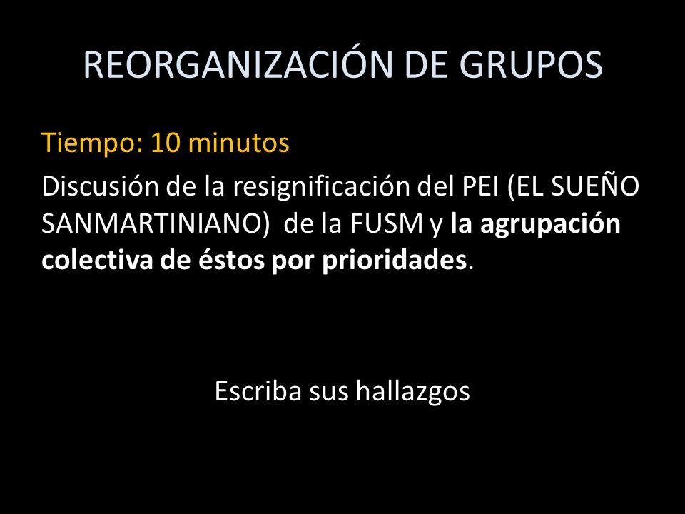 REORGANIZACIÓN DE GRUPOS Tiempo: 10 minutos Discusión de la resignificación del PEI (EL SUEÑO SANMARTINIANO) de la FUSM y la agrupación colectiva de é