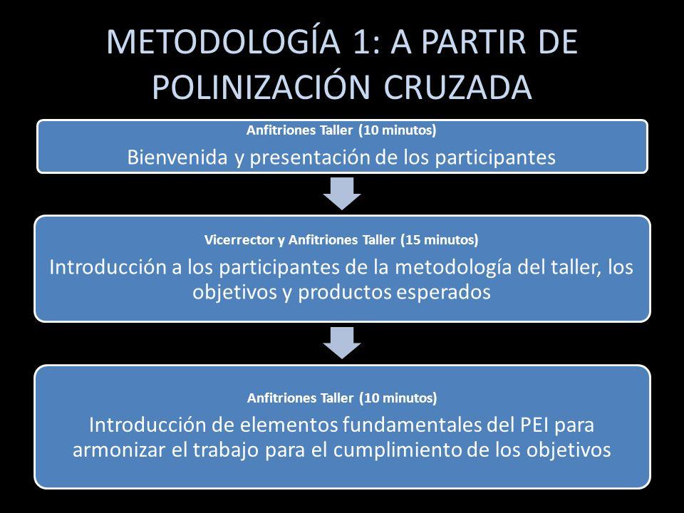 METODOLOGÍA 1: A PARTIR DE POLINIZACIÓN CRUZADA Anfitriones Taller (5 minutos) División de los participantes y anfitriones en mesas de 4-6 personas, el anfitrión es quien debe anotar lo expresado.