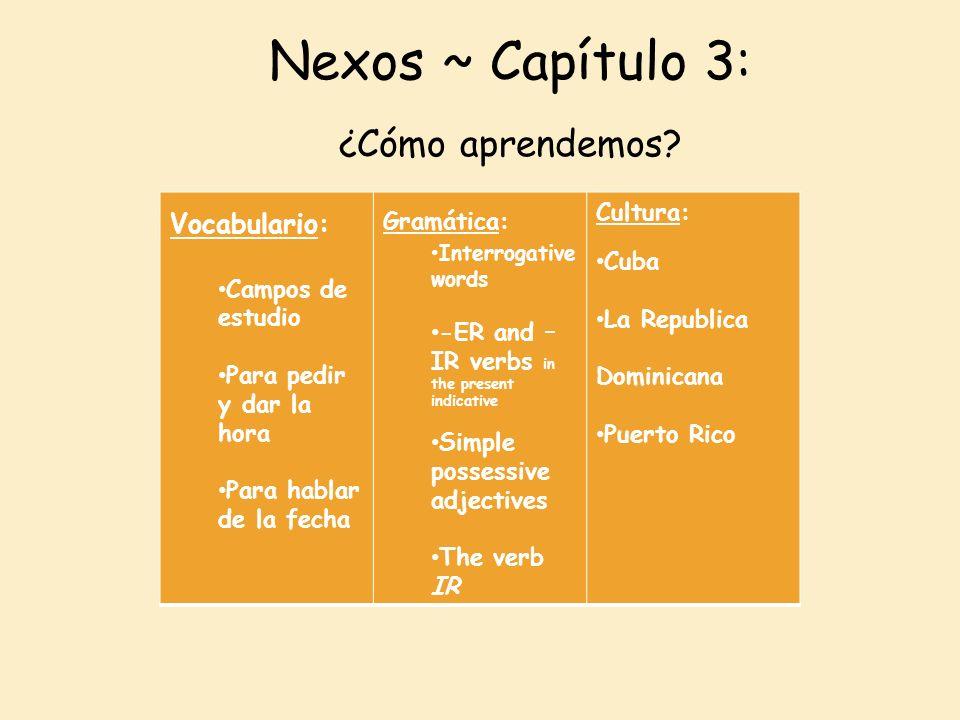 Nexos ~ Capítulo 3: ¿Cómo aprendemos? Vocabulario: Campos de estudio Para pedir y dar la hora Para hablar de la fecha Gramática: Interrogative words -