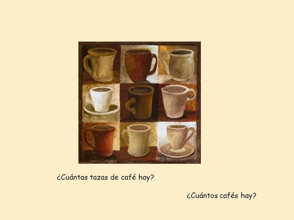 ¿Cuántas tazas de café hay? ¿Cuántos cafés hay?