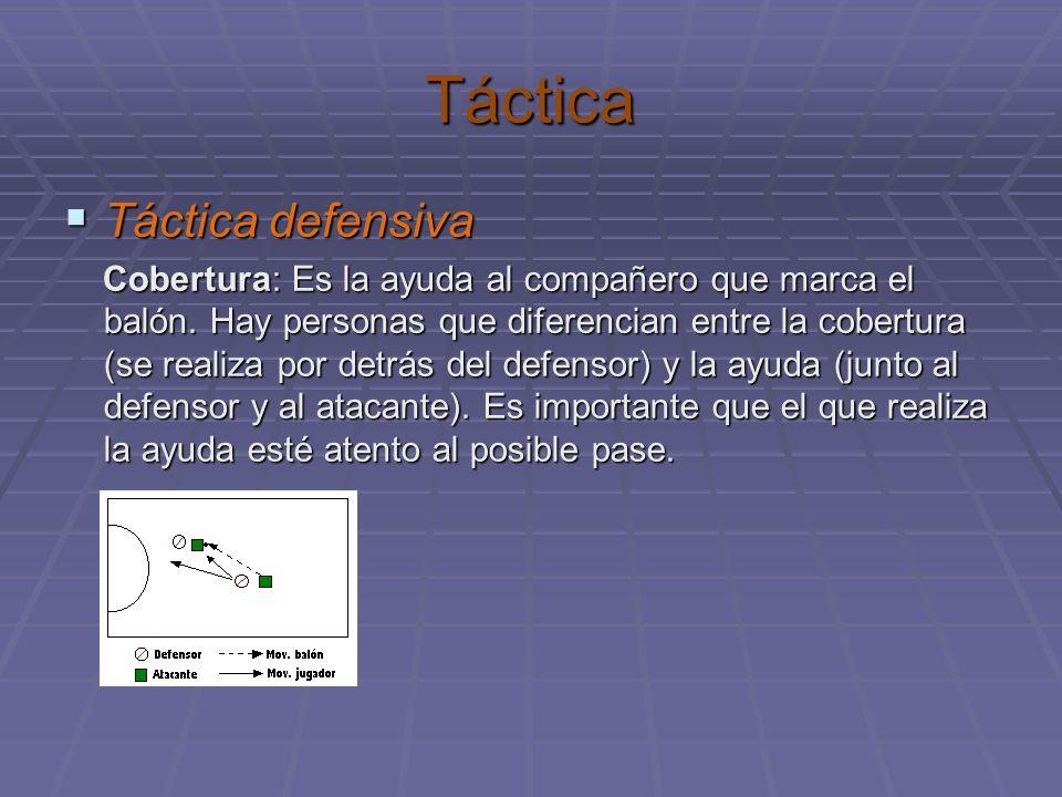 Táctica Táctica defensiva Táctica defensiva Cobertura: Es la ayuda al compañero que marca el balón. Hay personas que diferencian entre la cobertura (s