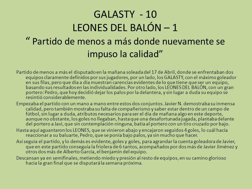 GALASTY - 10 LEONES DEL BALÓN – 1 Partido de menos a más donde nuevamente se impuso la calidad Partido de menos a más el disputado en la mañana solead