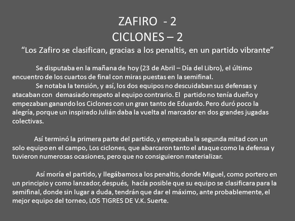 ZAFIRO - 2 CICLONES – 2 Los Zafiro se clasifican, gracias a los penaltis, en un partido vibrante Se disputaba en la mañana de hoy (23 de Abril – Día d