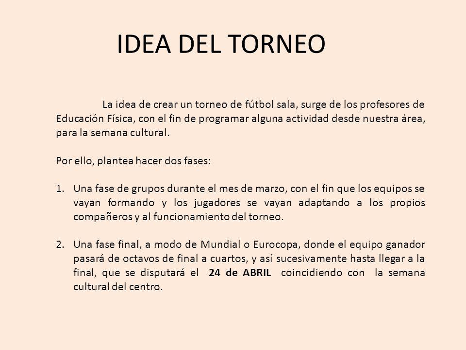 IDEA DEL TORNEO La idea de crear un torneo de fútbol sala, surge de los profesores de Educación Física, con el fin de programar alguna actividad desde