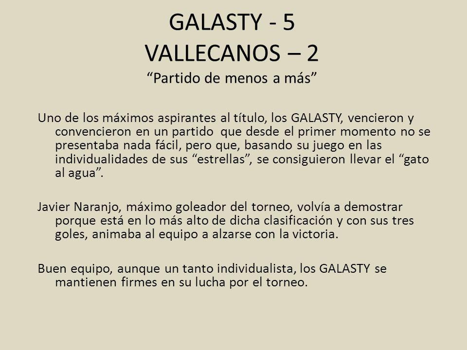 GALASTY - 5 VALLECANOS – 2 Partido de menos a más Uno de los máximos aspirantes al título, los GALASTY, vencieron y convencieron en un partido que des