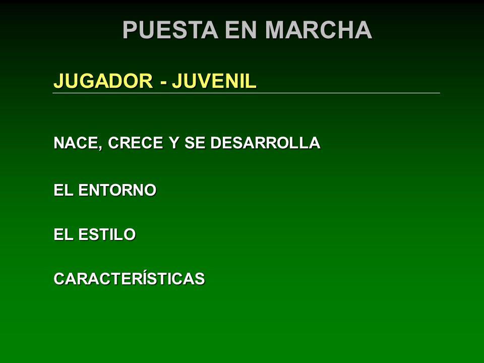 NACE, CRECE Y SE DESARROLLA JUGADOR - JUVENIL EL ENTORNO PUESTA EN MARCHA EL ESTILO CARACTERÍSTICAS