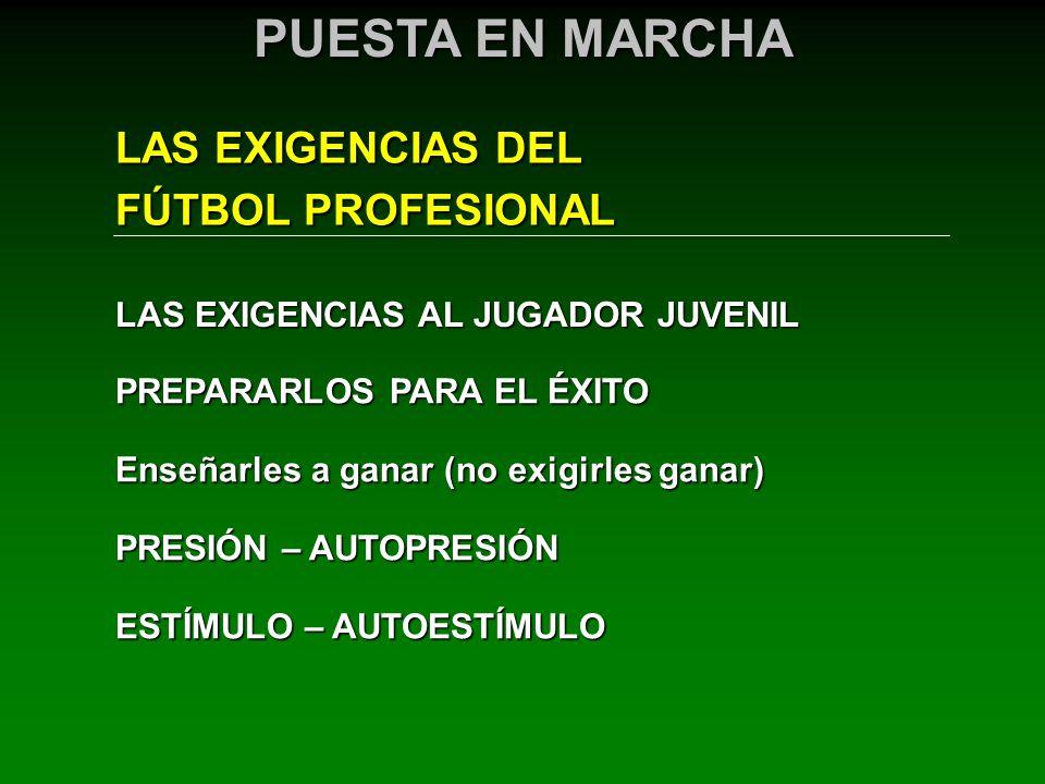 LAS EXIGENCIAS DEL FÚTBOL PROFESIONAL PUESTA EN MARCHA LAS EXIGENCIAS AL JUGADOR JUVENIL PREPARARLOS PARA EL ÉXITO Enseñarles a ganar (no exigirles ga