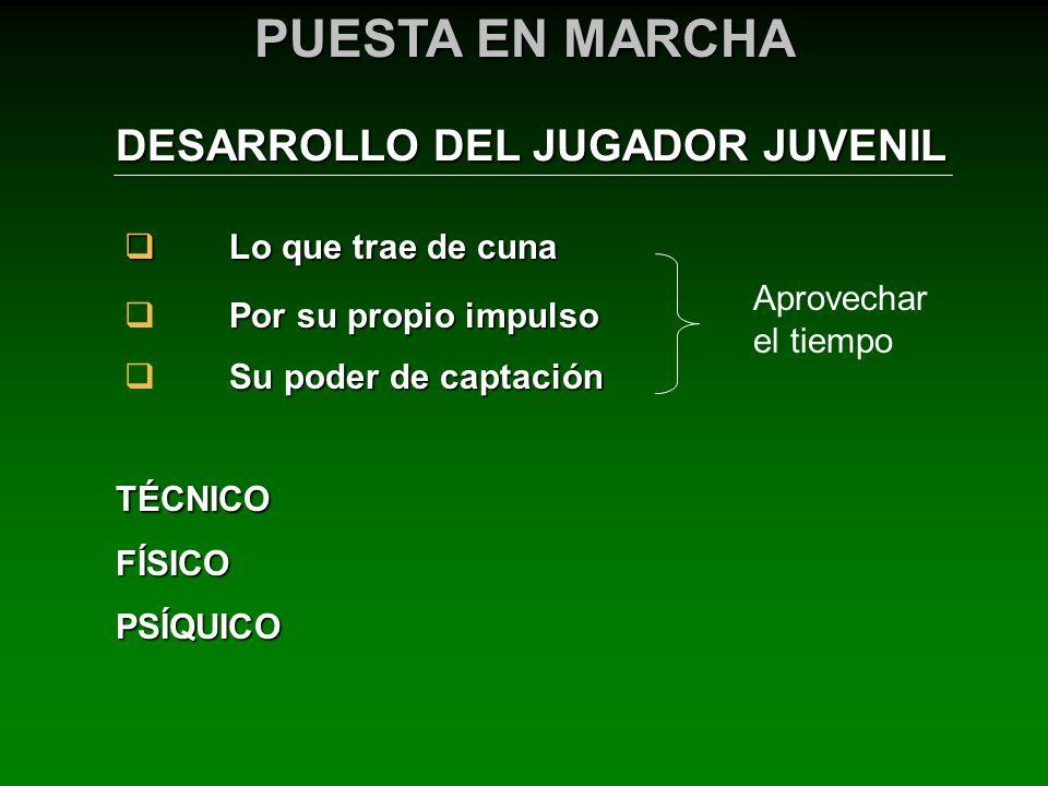 DESARROLLO DEL JUGADOR JUVENIL PUESTA EN MARCHA TÉCNICOFÍSICOPSÍQUICO Lo que trae de cuna Lo que trae de cuna Por su propio impulso Su poder de captac