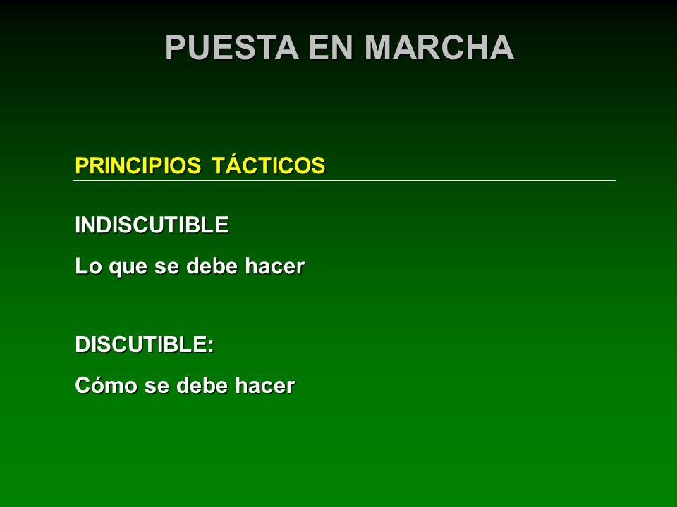 PRINCIPIOS TÁCTICOS PUESTA EN MARCHA DISCUTIBLE: Cómo se debe hacer INDISCUTIBLE Lo que se debe hacer