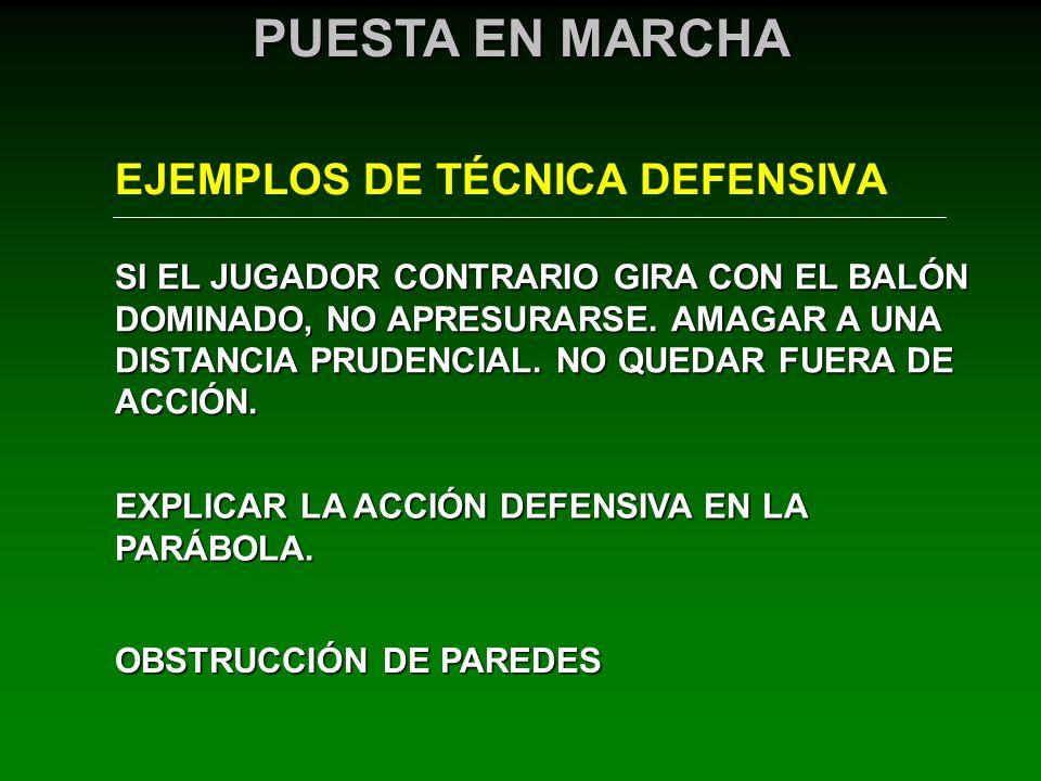 EJEMPLOS DE TÉCNICA DEFENSIVA PUESTA EN MARCHA SI EL JUGADOR CONTRARIO GIRA CON EL BALÓN DOMINADO, NO APRESURARSE. AMAGAR A UNA DISTANCIA PRUDENCIAL.