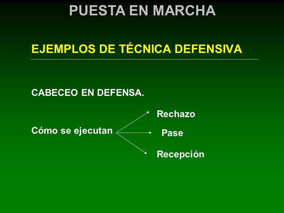 EJEMPLOS DE TÉCNICA DEFENSIVA PUESTA EN MARCHA CABECEO EN DEFENSA. Cómo se ejecutan Rechazo Pase Recepción