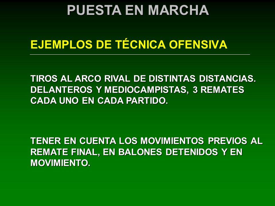 EJEMPLOS DE TÉCNICA OFENSIVA PUESTA EN MARCHA TIROS AL ARCO RIVAL DE DISTINTAS DISTANCIAS. DELANTEROS Y MEDIOCAMPISTAS, 3 REMATES CADA UNO EN CADA PAR
