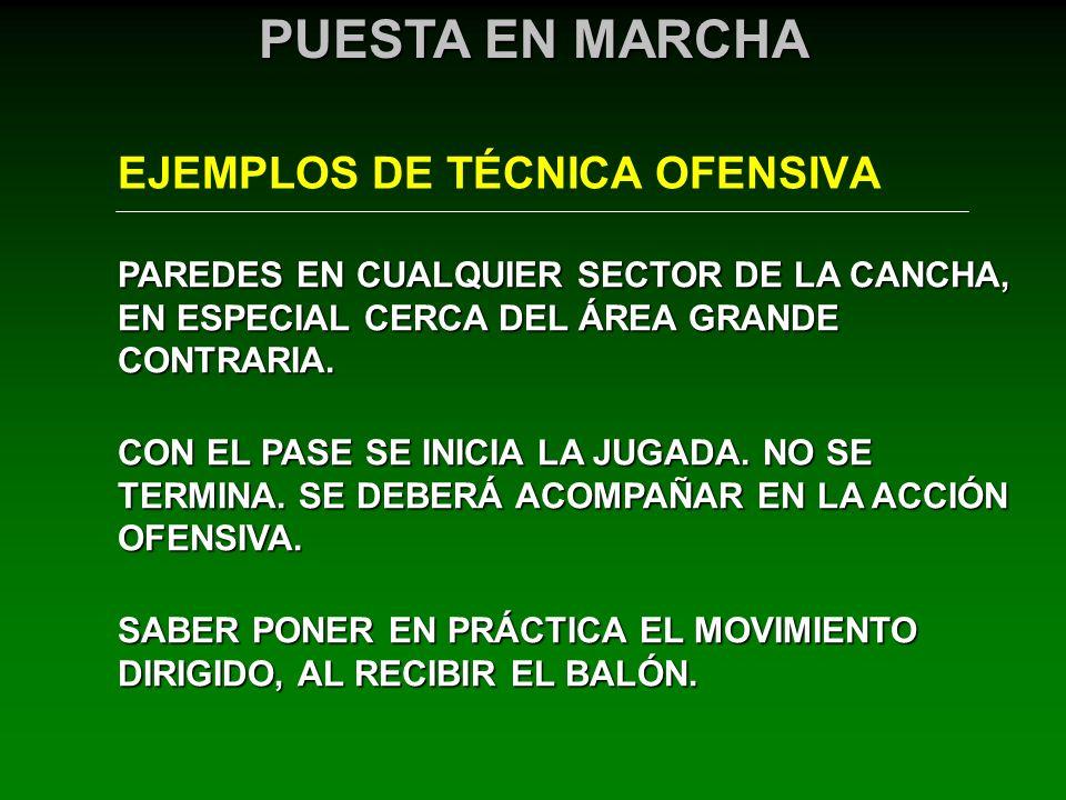 EJEMPLOS DE TÉCNICA OFENSIVA PUESTA EN MARCHA PAREDES EN CUALQUIER SECTOR DE LA CANCHA, EN ESPECIAL CERCA DEL ÁREA GRANDE CONTRARIA. CON EL PASE SE IN
