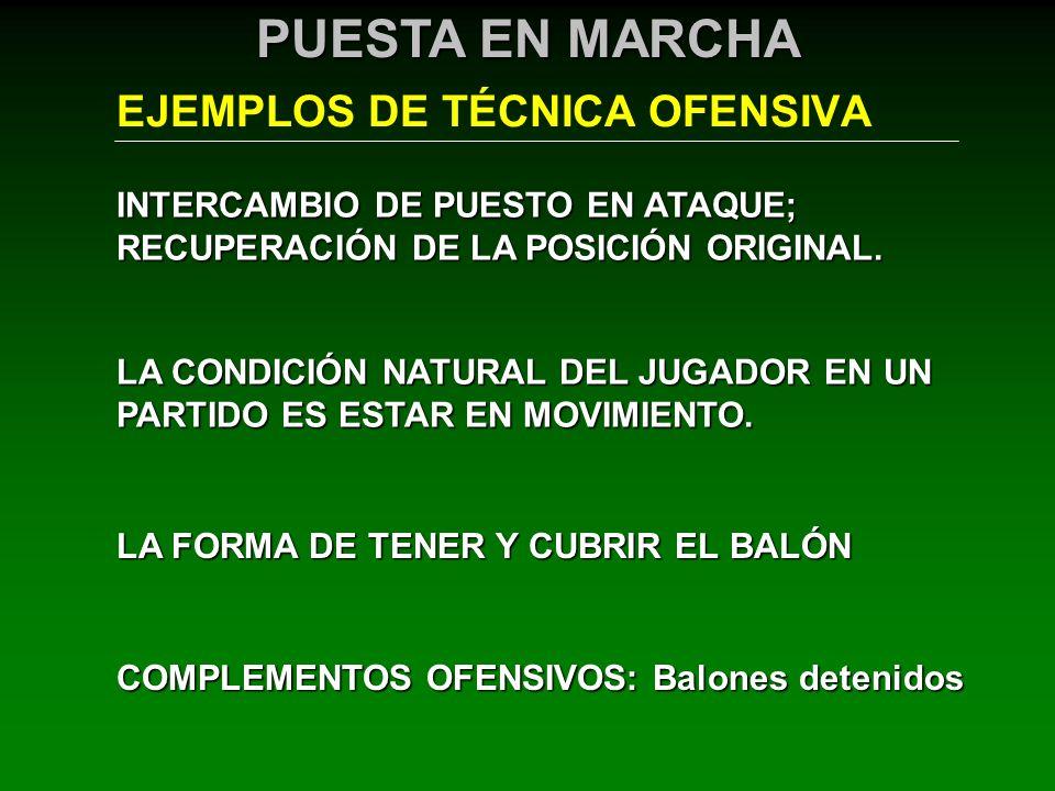 EJEMPLOS DE TÉCNICA OFENSIVA PUESTA EN MARCHA INTERCAMBIO DE PUESTO EN ATAQUE; RECUPERACIÓN DE LA POSICIÓN ORIGINAL. LA CONDICIÓN NATURAL DEL JUGADOR