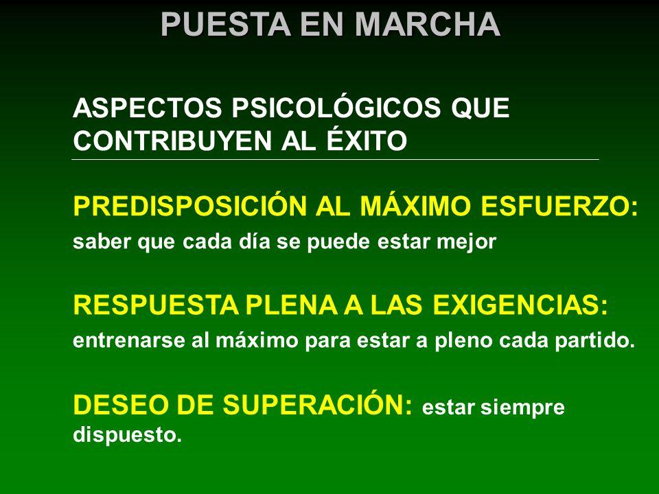 ASPECTOS PSICOLÓGICOS QUE CONTRIBUYEN AL ÉXITO PUESTA EN MARCHA PREDISPOSICIÓN AL MÁXIMO ESFUERZO: saber que cada día se puede estar mejor RESPUESTA P