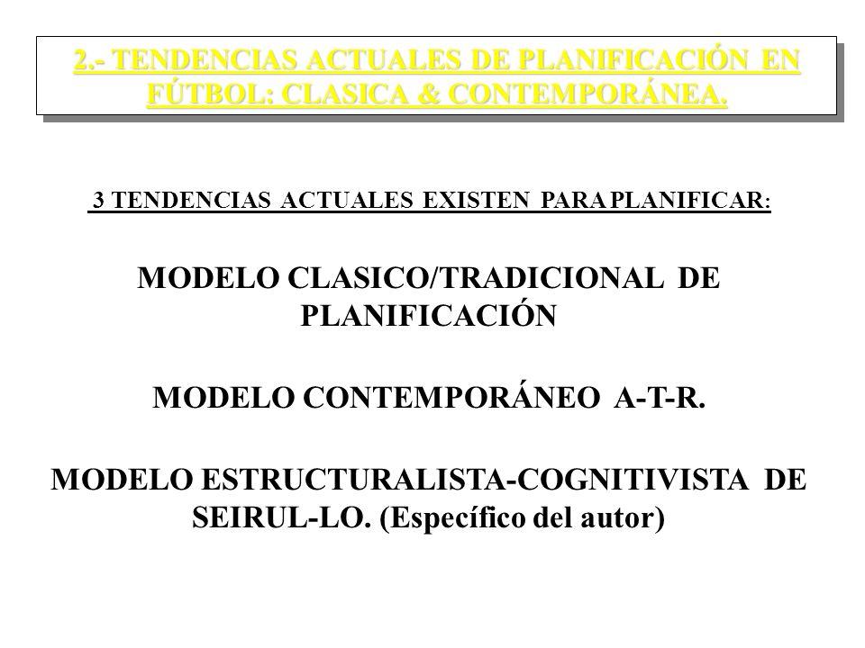 2.- TENDENCIAS ACTUALES DE PLANIFICACIÓN EN FÚTBOL: CLASICA & CONTEMPORÁNEA.