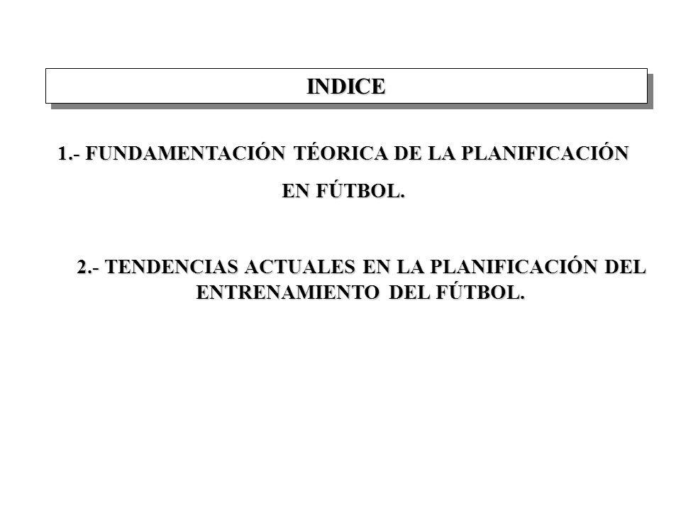 INDICEINDICE 1.- FUNDAMENTACIÓN TÉORICA DE LA PLANIFICACIÓN EN FÚTBOL.