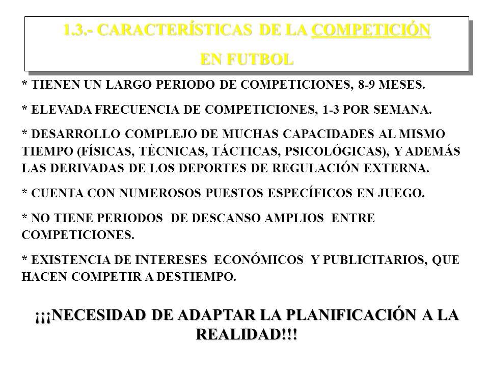 1.3.- CARACTERÍSTICAS DE LA COMPETICIÓN EN FUTBOL 1.3.- CARACTERÍSTICAS DE LA COMPETICIÓN EN FUTBOL * TIENEN UN LARGO PERIODO DE COMPETICIONES, 8-9 MESES.