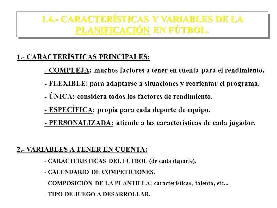1.4.- CARACTERÍSTICAS Y VARIABLES DE LA PLANIFICACIÓN EN FÚTBOL.