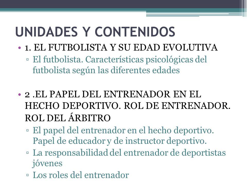 UNIDADES Y CONTENIDOS 1.EL FUTBOLISTA Y SU EDAD EVOLUTIVA El futbolista.