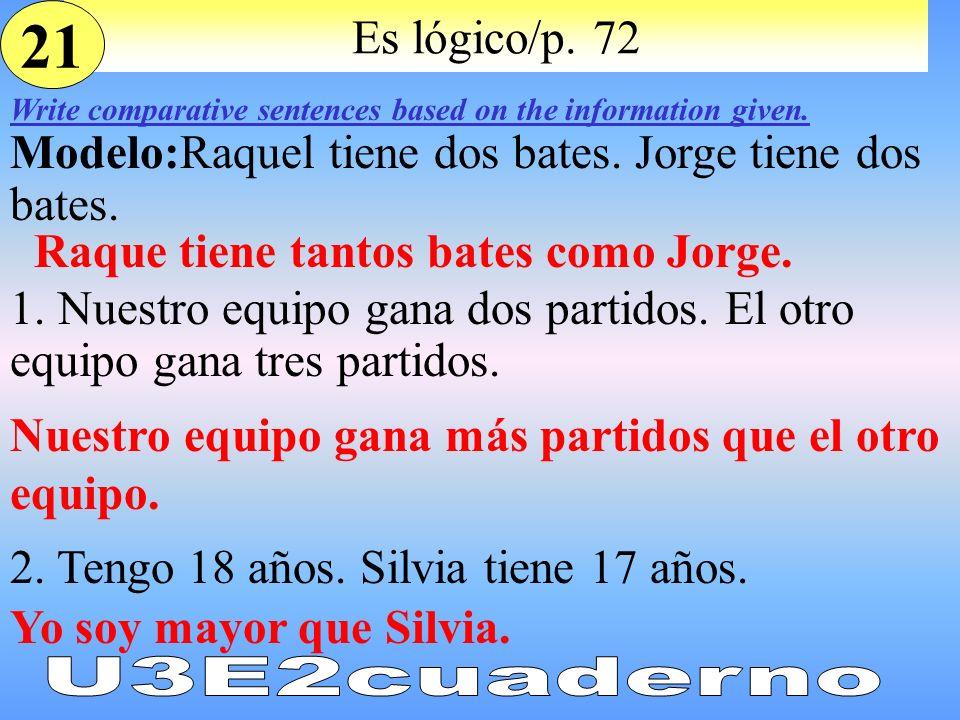 Es lógico/p. 72 Write comparative sentences based on the information given. Modelo:Raquel tiene dos bates. Jorge tiene dos bates. 1. Nuestro equipo ga