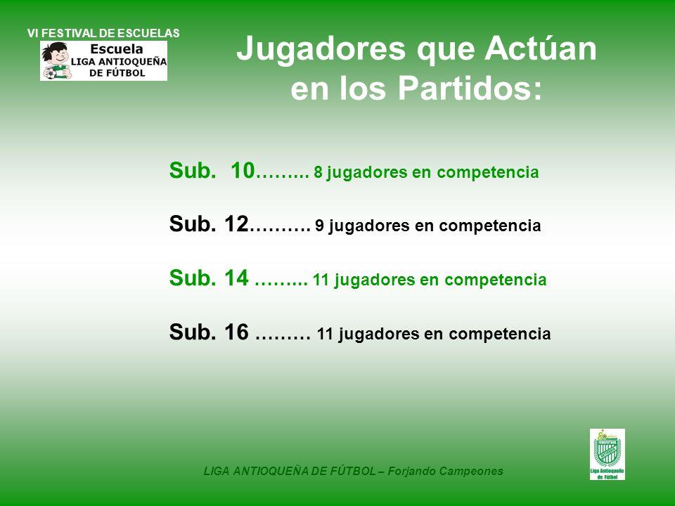 VI FESTIVAL DE ESCUELAS Sub. 10 ……... 8 jugadores en competencia Sub. 12 ………. 9 jugadores en competencia Sub. 14 ……... 11 jugadores en competencia Sub