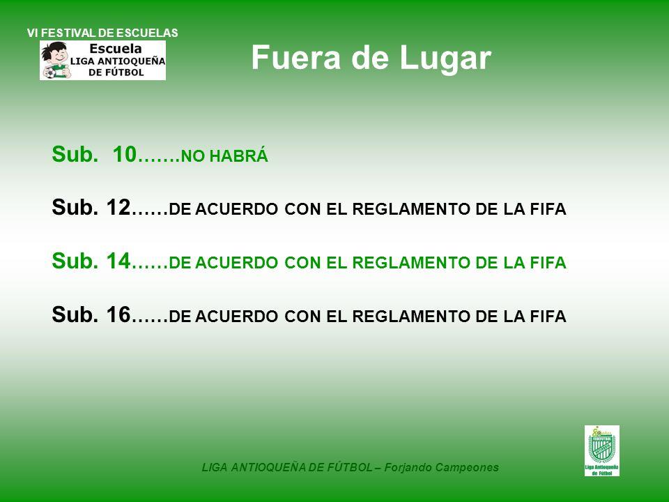 VI FESTIVAL DE ESCUELAS Sub. 10 ……. NO HABRÁ Sub. 12 …… DE ACUERDO CON EL REGLAMENTO DE LA FIFA Sub. 14 …… DE ACUERDO CON EL REGLAMENTO DE LA FIFA Sub